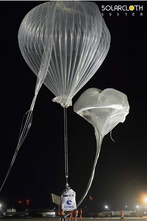 Voile solaire ballon stratosphérique avec le cnes